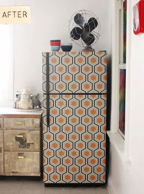 Up-cycle, up-cycle a fridge with wallpaper! #kitchen