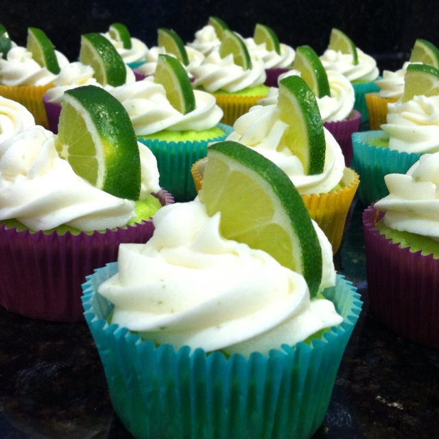 My version of key lime cupcakes with lime cream cheese frosting!