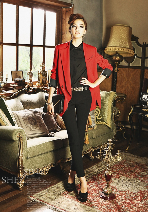 blazer, red, fashion