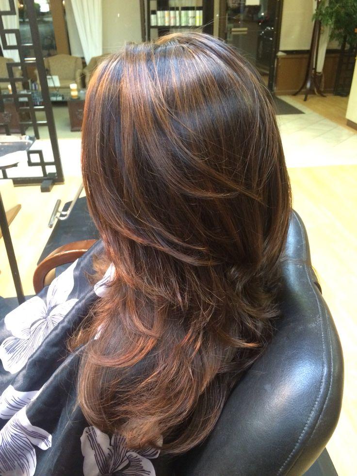 Blue highlights in dark brown hair