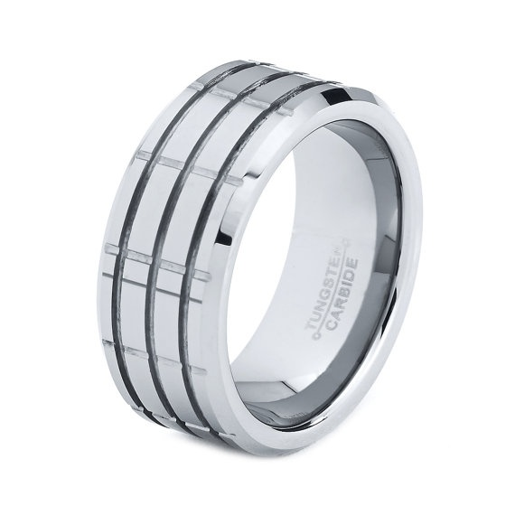 mens tungsten carbide wedding band ring 9mm high polished
