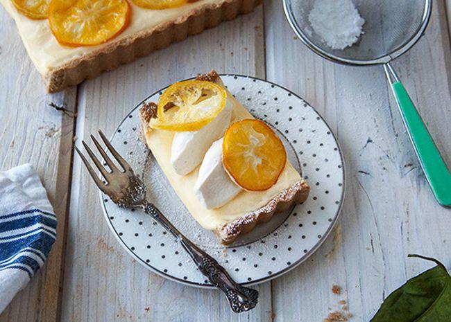 Meyer Lemon Cream White Chocolate Tart - Style Sweet CA