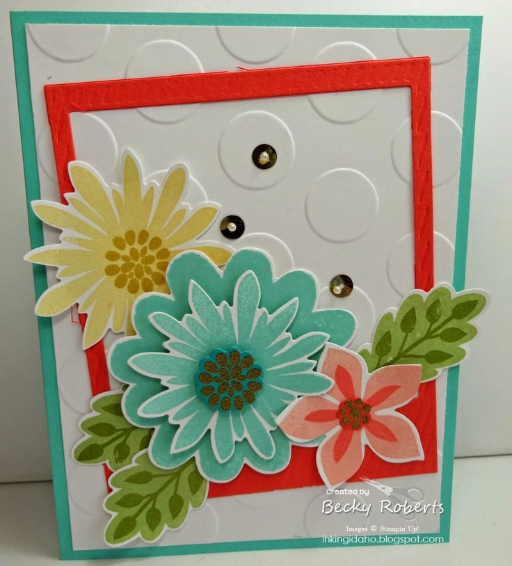 Stampin' Up! Card by Becky R: Flower Patch photopolymer stamp set and coordinating Framelits.