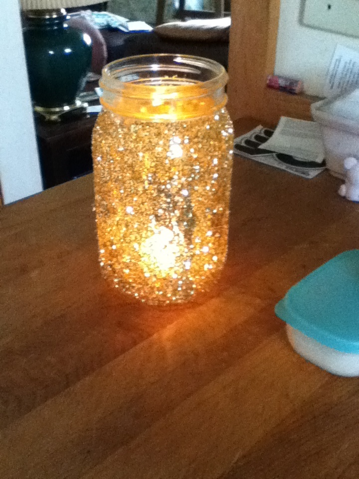 mason jars glitter candle holders made it pinterest