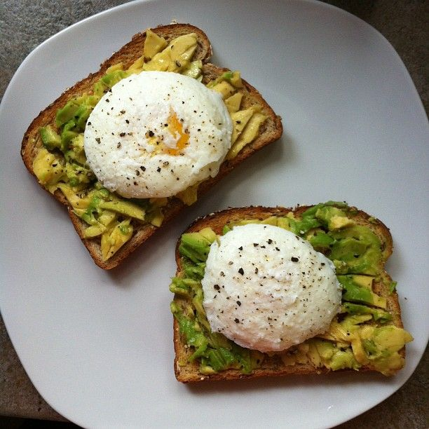 ... whole grain bread toasted, sliced avocado, perfectly poached eggs