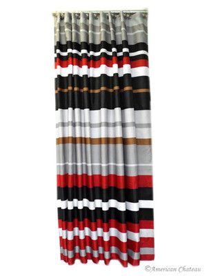 71 quot red black grey horizontal stripe fabric shower curtain 15 9 s