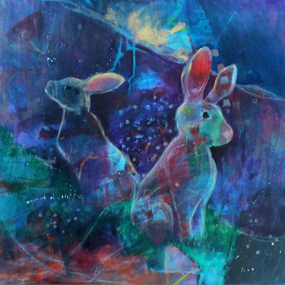 Rabbit stops to listen kerri blackman rabbits pinterest for Acrylic art images