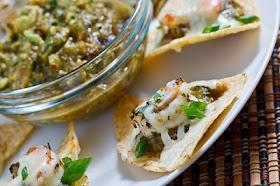 Shrimp Nachos with Avocado Roasted Tomatillo Salsa