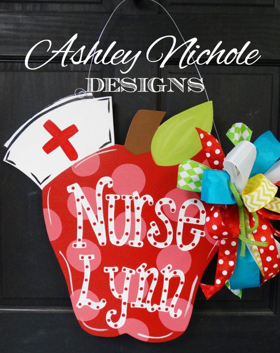 ... Nurse Apple Door Hanger, Back to School Decor, Wooden Apple Decoration
