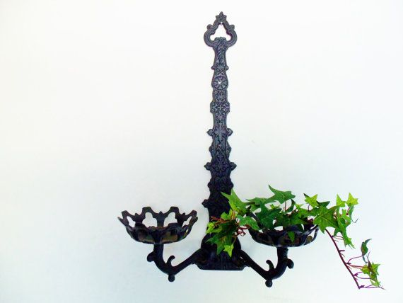 Wall Sconces With Plants : Wall Decor Sconce Black Double Plant or Candle Holder Wall Sconce Bla?