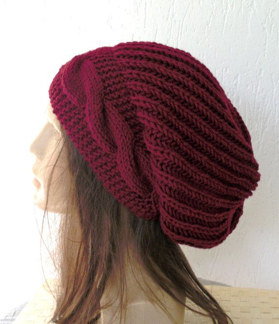 Hand Knitted Hat Patterns : Hand Knit Hat- Womens hat - chunky knit Slouchy Beanie Slouch Burgund?