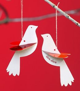 Love Dove Christmas Card Ornaments, could also stitch words: Noel, etc or pictures: heart with design, snowflake, etc.