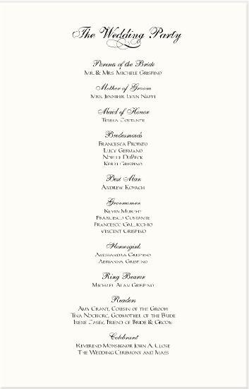 Sample wedding reception programs when i say i do pinterest for Wedding reception programme sample