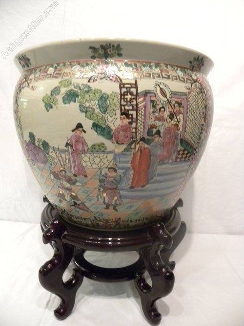 Chinese fish bowl jardinere and stand cachepots for Fish bowl stand