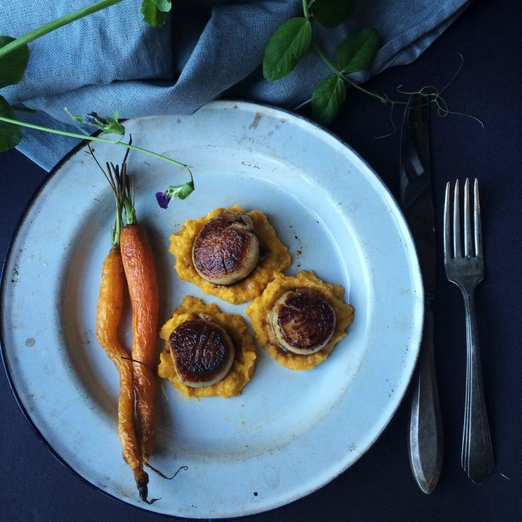 Wild Scallops in Browned Butter With Roasted Figs & Carrot Creme ...