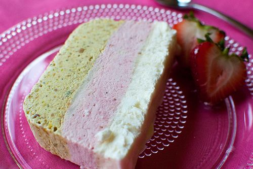 Pistachio, strawberry, and vanilla semifreddo