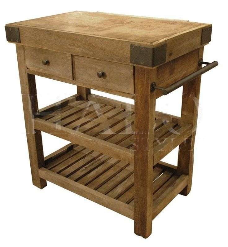 Kitchen island butcher 39 s block old reclaimed elm iron new for Antique kitchen island