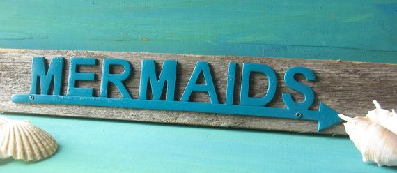 Rustic Wood and Metal Nautical Mermaid Sign/ by happybdaytome,