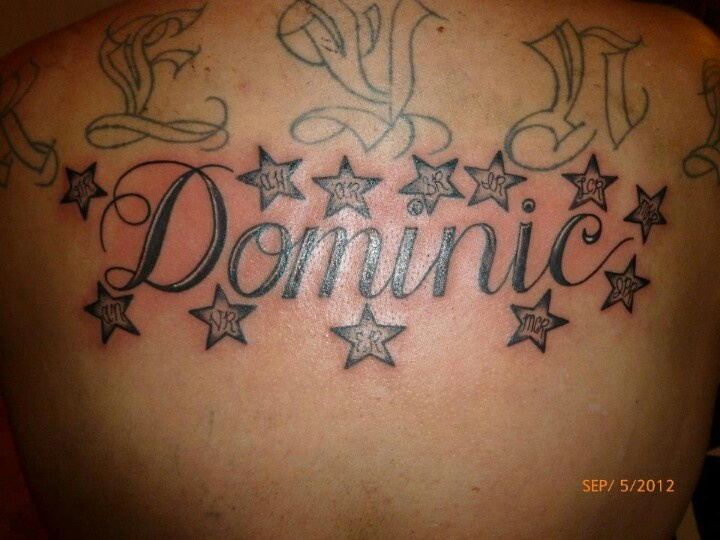 name dominic with initials in stars lettering tattoos by marz pin. Black Bedroom Furniture Sets. Home Design Ideas