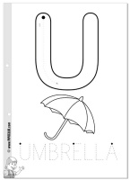 u is for umbrella coloring page  is for Umbrel...