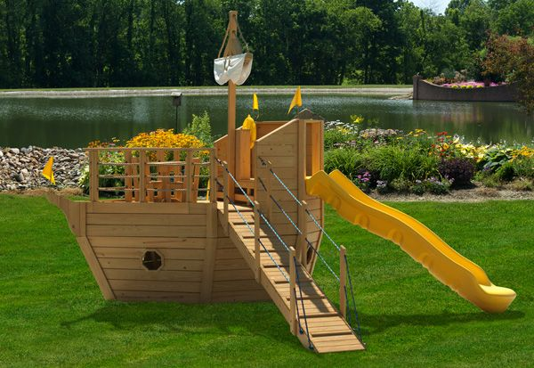 Pirate ship wooden boat playset 901 brody pinterest - Wooden pirate ship playhouse ...