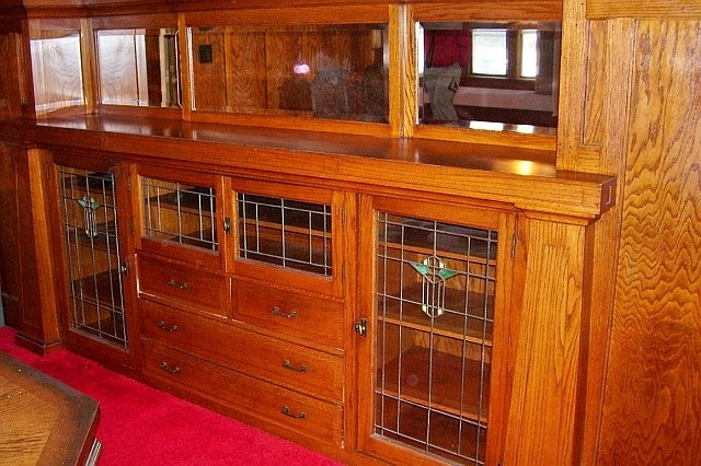 a beautiful built in buffet in the craftsman style