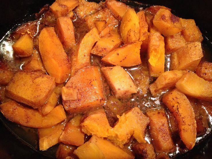 Slow Cooker Butternut Squash- 1 butternut squash 1/3 cup apple juice ...