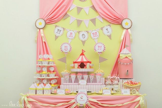 Pink Circus Party Theme  Catch My Party  Party Ideas  Pinterest