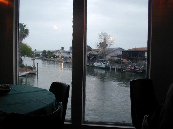 Crab N Restaurant in Rockport, TX - view from inside! They will cook your fresh catch of the day, yummy :)
