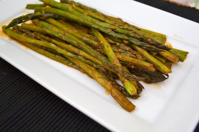 miso roasted asparagus recipe   Foodie!   Pinterest