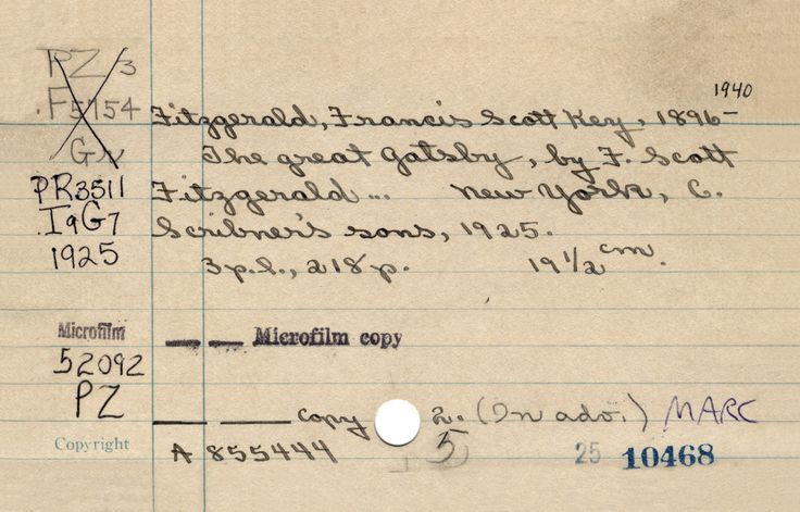 Library Catalog Cards For Classic Books