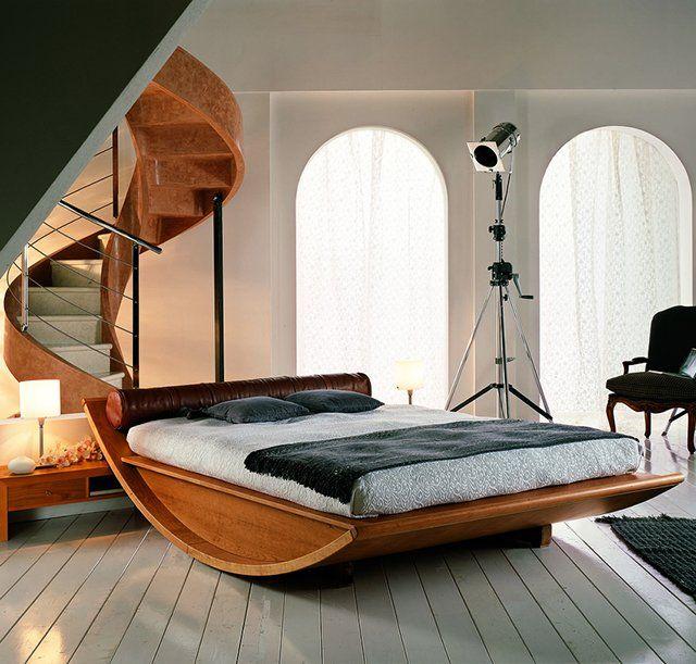 Wooden Gondola Bed by Mazzali