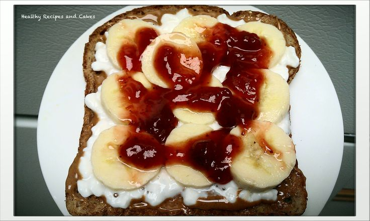 ... : Toast with peanut butter, cottage cheese, banana and strawberry jam