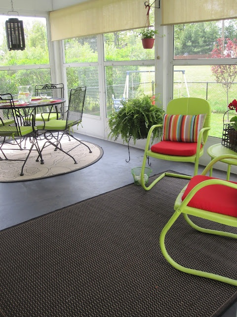 Love the colors on this porch.
