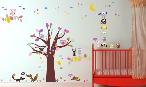 Wandsticker Mega Set - Eulen Babyzimmer Pinterest