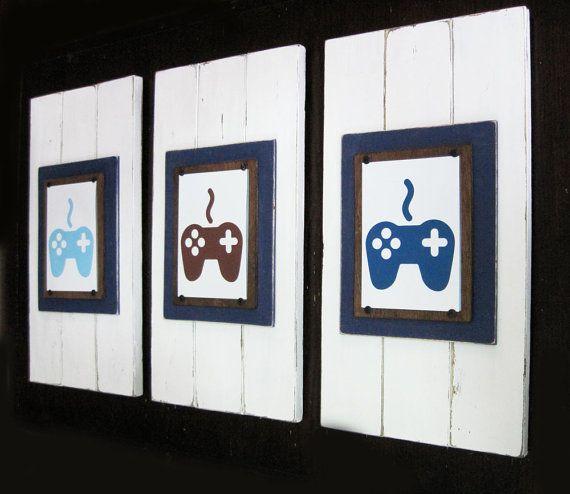 Set of 3 framed 5x7 video game art prints for 5x7 room design