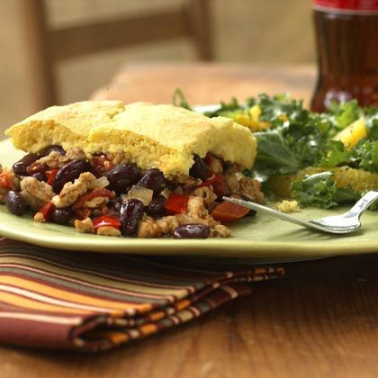 Turkey Tamale Potpie - I never thought of putting corn bread on top!