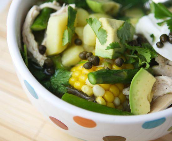 Colombian Chicken Soup - chicken, corn, avocado, cilantro ...