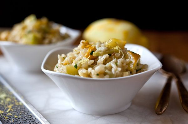 Lemon Risotto w/ Summer Squash --> use low sodium veggie stock, brown ...