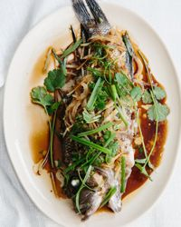 Steamed Bass with Onion, Ginger and Scallion Recipe on Food & Wine