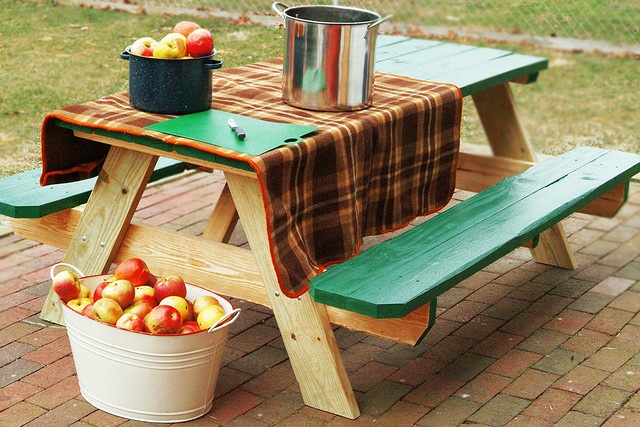 Picnic Table W Painted Top And Benches Garden Outdoors