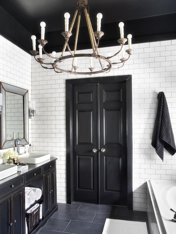 Timeless black and white master bathroom makeover for Dark doors light walls
