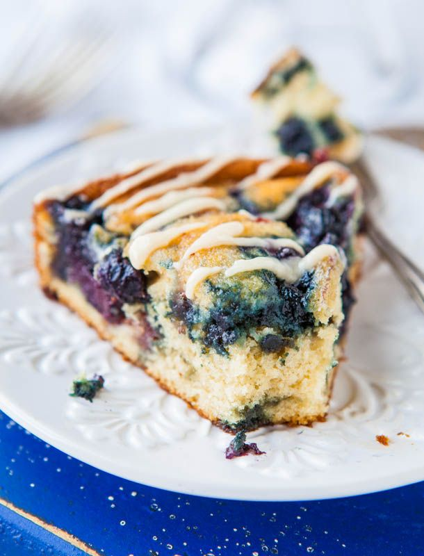 Blueberry and Jam Buttermilk Coffee Cake with Buttery Vanilla Glaze