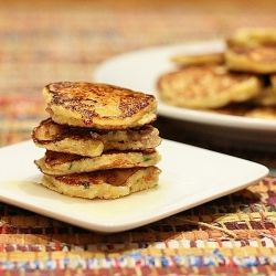 Corn Griddle Cakes with Sausage and a Honey Butter melted on top...