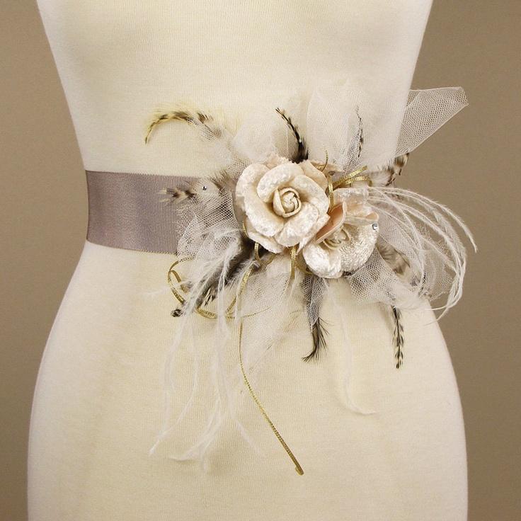 bridal sash wedding dress belt vintage inspired flowers 786