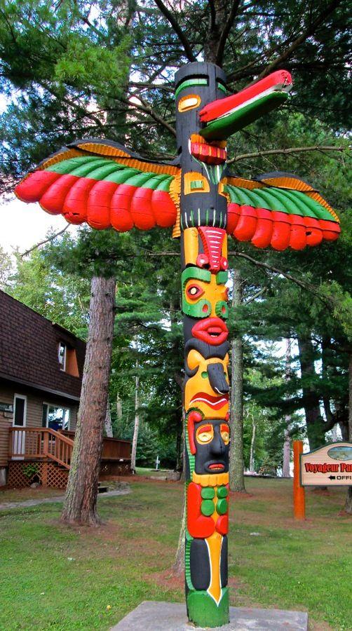 Totem Pole Preserved at Kabetogama Lake, Minnesota