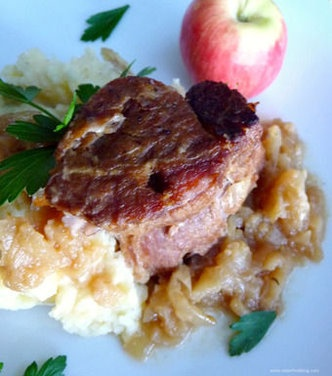 Cider-Braised Pork Shoulder with Caramelized Onion and Apple Confit ...