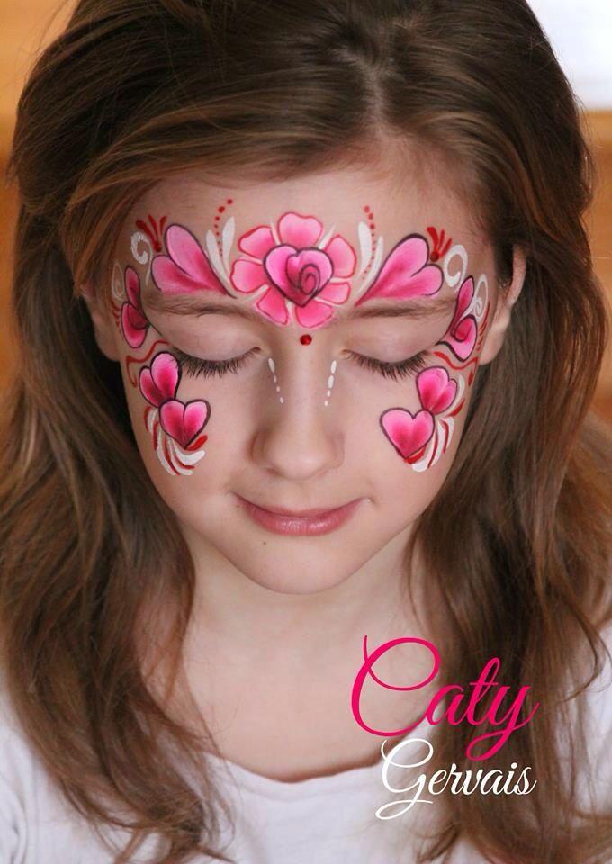 Hearts | Face paint art | Pinterest