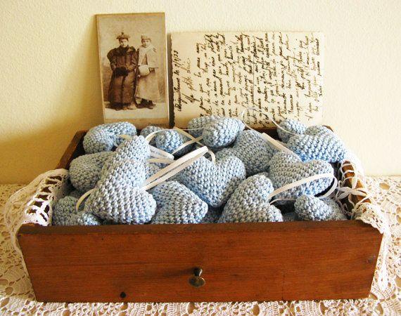 Crochet Wedding : Wedding Favors, Wedding table decor, Crochet Hearts, A Set of Fifty ...