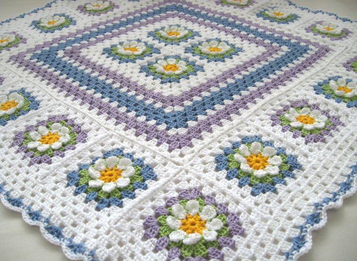 Flower blanket afghan granny squares | Crochet Afghans 4 | Pinterest